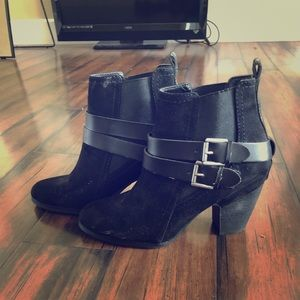 Black Slip On Suede Booties